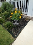 6 inch x 6 inch No Soliciting Yard Sign with 18 inch Stake. Perfect for a flower pot or planter box.