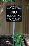 8 inch x 8 inch No Soliciting Yard Sign with 2 ft Yard Stake