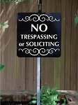 8 inch x 8 inch No Trespassing or Soliciting Yard Sign