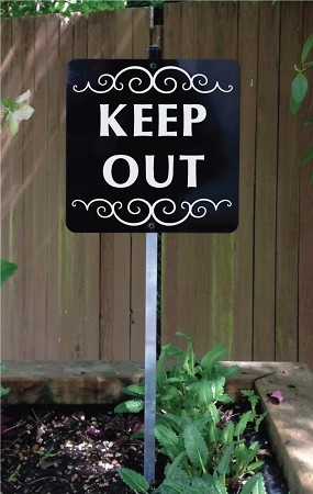 8 inch x 8 inch KEEP OUT Yard Sign with 2 ft Yard Stake