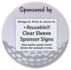 "18 Hole Kit (18 Signs) 18"" Round Golf Sponsor Signs with Clear Sleeves & Stakes"